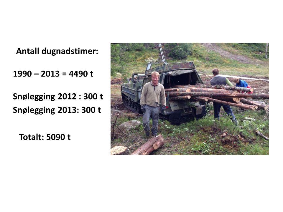 Antall dugnadstimer: 1990 – 2013 = 4490 t Snølegging 2012 : 300 t Snølegging 2013: 300 t Totalt: 5090 t