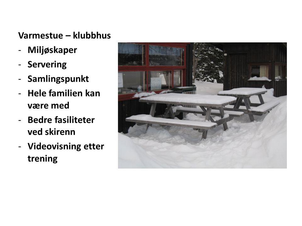 Varmestue – klubbhus -Miljøskaper -Servering -Samlingspunkt -Hele familien kan være med -Bedre fasiliteter ved skirenn -Videovisning etter trening