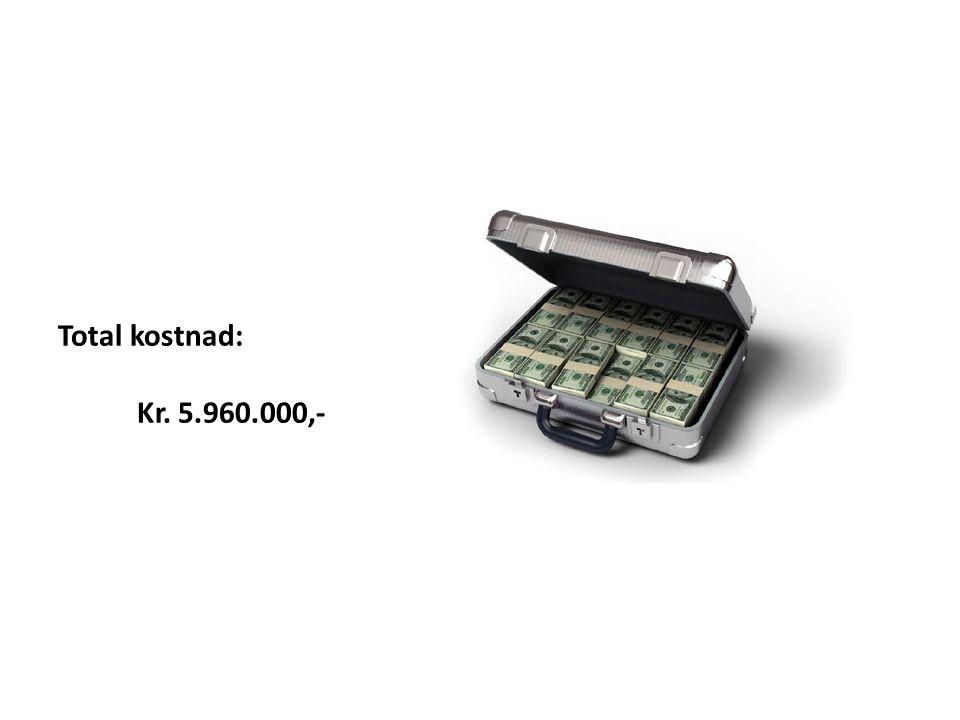 Total kostnad: Kr. 5.960.000,-