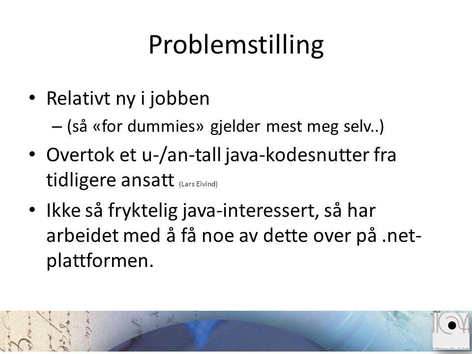 Problemstilling • Relativt ny i jobben – (så «for dummies» gjelder mest meg selv..) • Overtok et u-/an-tall java-kodesnutter fra tidligere ansatt (Lar