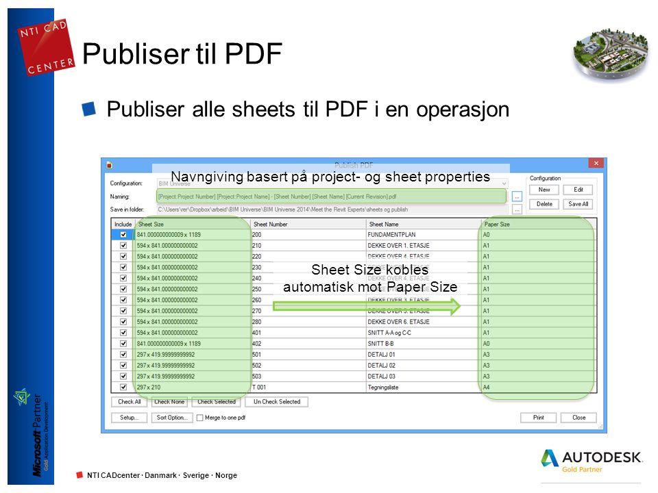NTI CADcenter · Danmark · Sverige · Norge Publiser til PDF Publiser alle sheets til PDF i en operasjon Navngiving basert på project- og sheet properti
