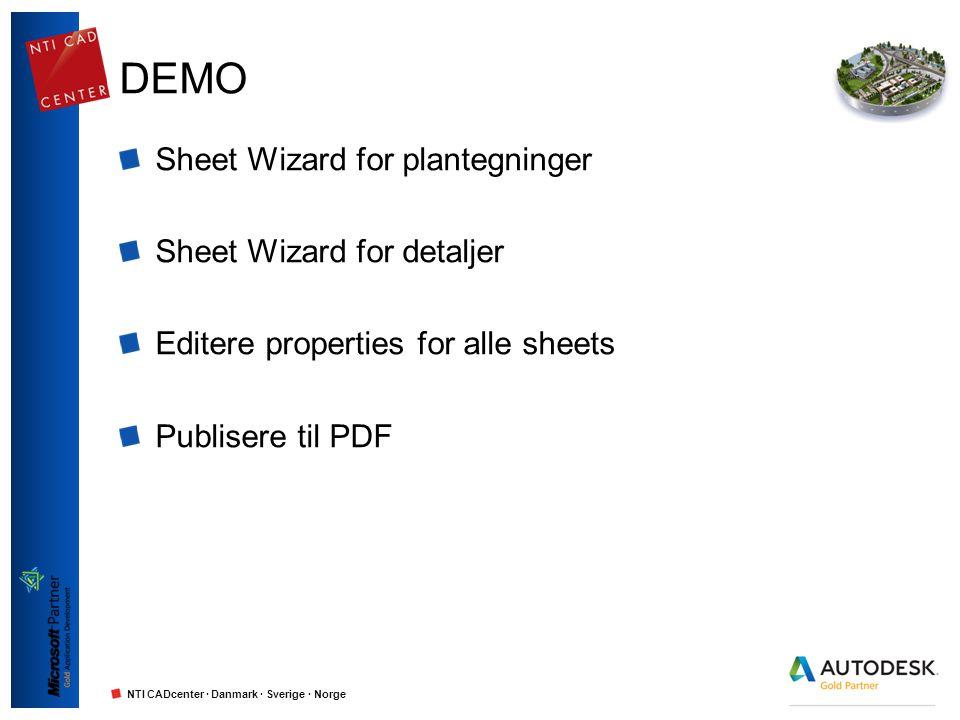 NTI CADcenter · Danmark · Sverige · Norge DEMO Sheet Wizard for plantegninger Sheet Wizard for detaljer Editere properties for alle sheets Publisere t