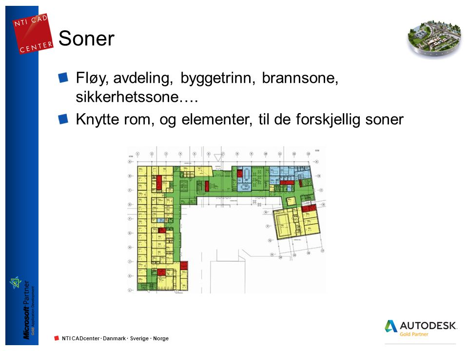 NTI CADcenter · Danmark · Sverige · Norge Soner Fløy, avdeling, byggetrinn, brannsone, sikkerhetssone…. Knytte rom, og elementer, til de forskjellig s