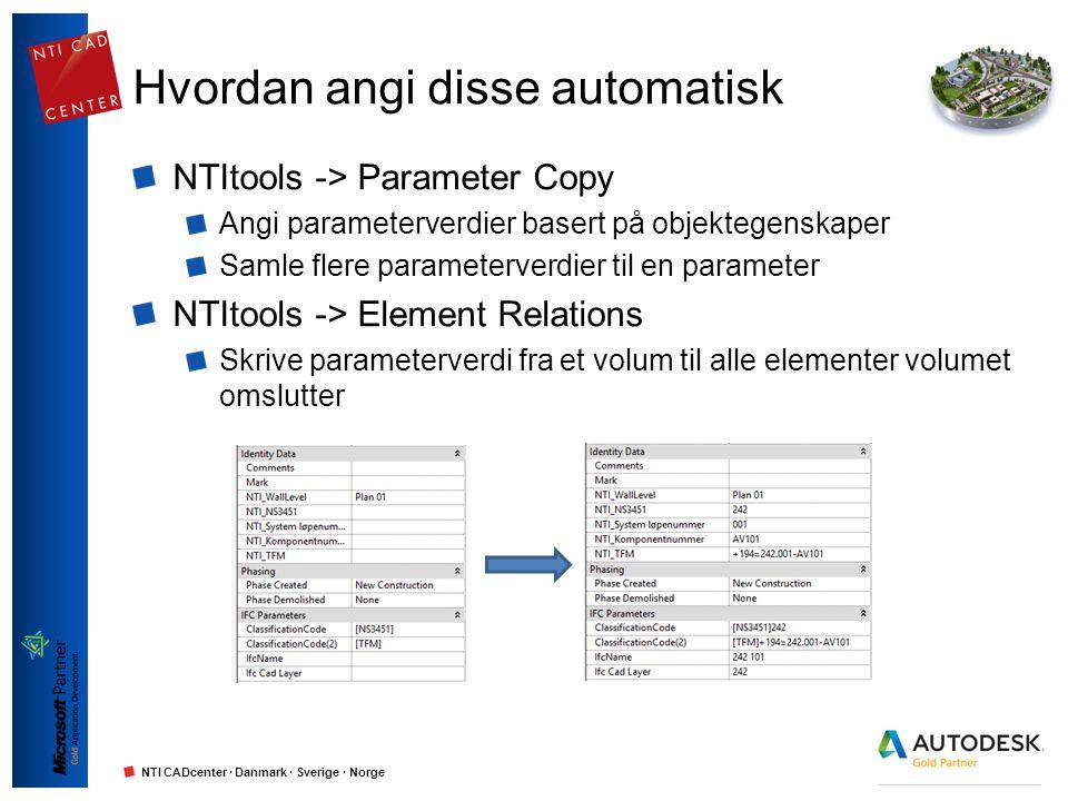 NTI CADcenter · Danmark · Sverige · Norge Hvordan angi disse automatisk NTItools -> Parameter Copy Angi parameterverdier basert på objektegenskaper Sa