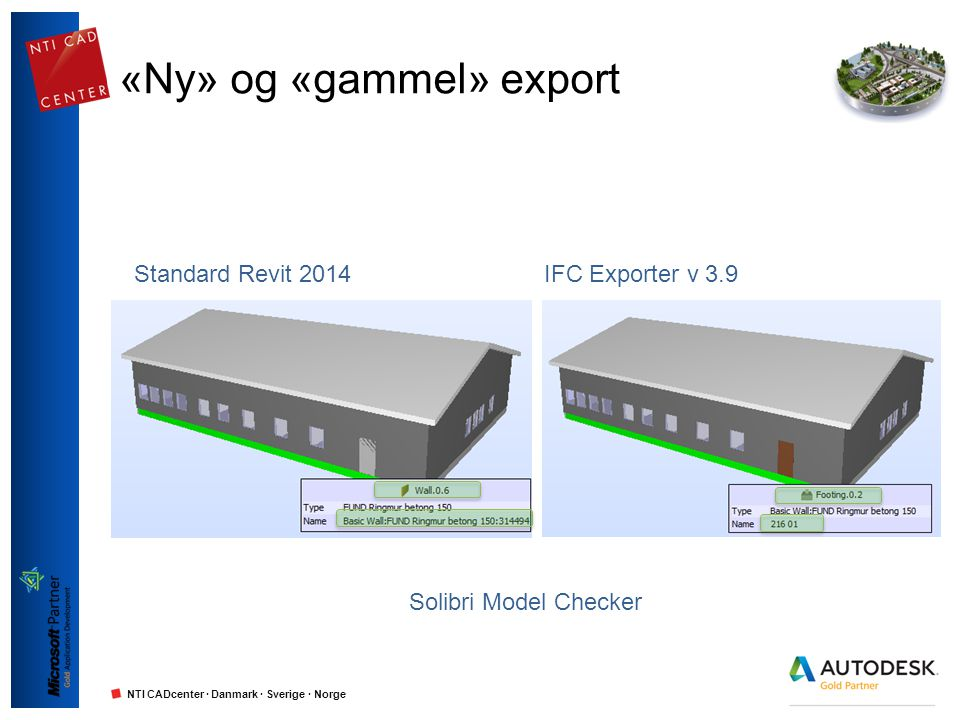 NTI CADcenter · Danmark · Sverige · Norge Standard Revit 2014IFC Exporter v 3.9 «Ny» og «gammel» export Solibri Model Checker