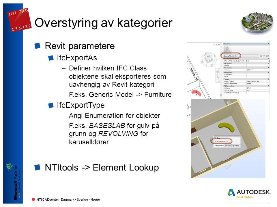 NTI CADcenter · Danmark · Sverige · Norge Overstyring av kategorier Revit parametere IfcExportAs ‒ Definer hvilken IFC Class objektene skal eksportere