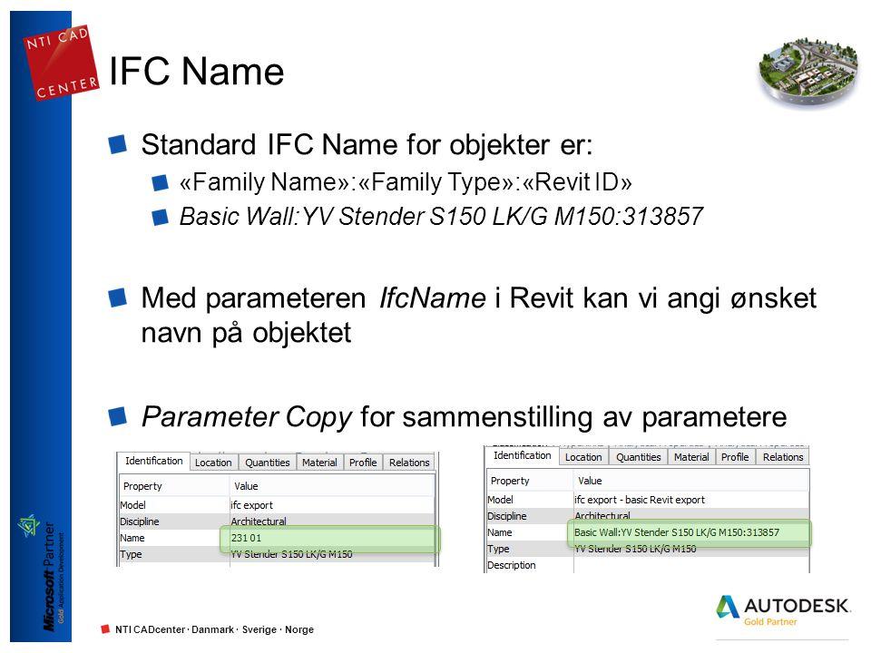 NTI CADcenter · Danmark · Sverige · Norge IFC Name Standard IFC Name for objekter er: «Family Name»:«Family Type»:«Revit ID» Basic Wall:YV Stender S15