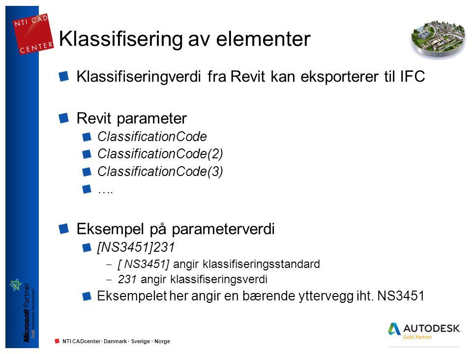 NTI CADcenter · Danmark · Sverige · Norge Klassifisering av elementer Klassifiseringverdi fra Revit kan eksporterer til IFC Revit parameter Classifica