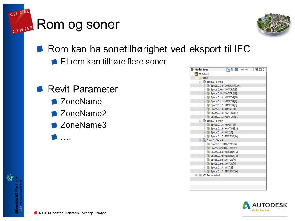 NTI CADcenter · Danmark · Sverige · Norge Rom og soner Rom kan ha sonetilhørighet ved eksport til IFC Et rom kan tilhøre flere soner Revit Parameter Z