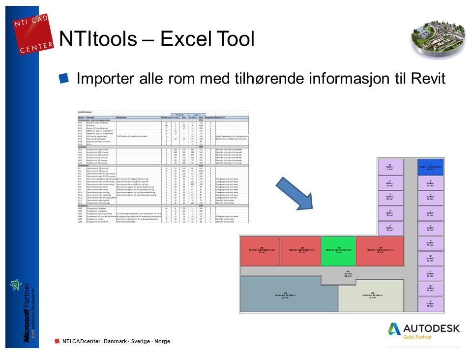 NTI CADcenter · Danmark · Sverige · Norge NTItools – Excel Tool Importer alle rom med tilhørende informasjon til Revit