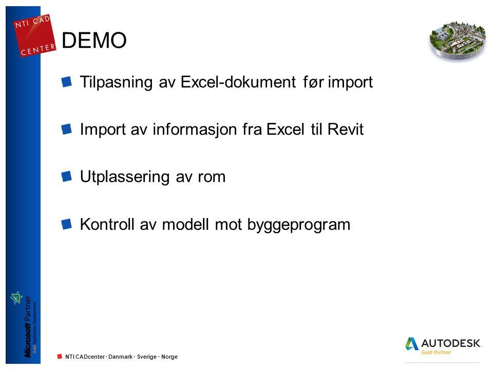 NTI CADcenter · Danmark · Sverige · Norge DEMO Tilpasning av Excel-dokument før import Import av informasjon fra Excel til Revit Utplassering av rom K
