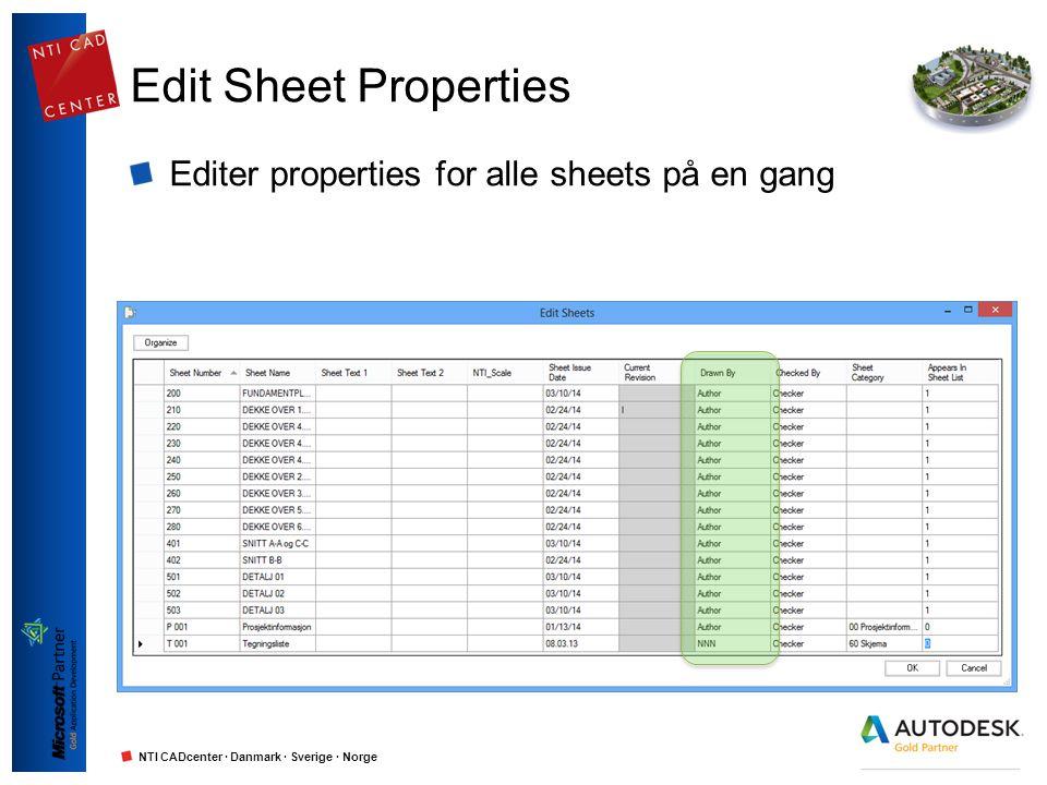 NTI CADcenter · Danmark · Sverige · Norge Publiser til PDF Publiser alle sheets til PDF i en operasjon Navngiving basert på project- og sheet properties Sheet Size kobles automatisk mot Paper Size