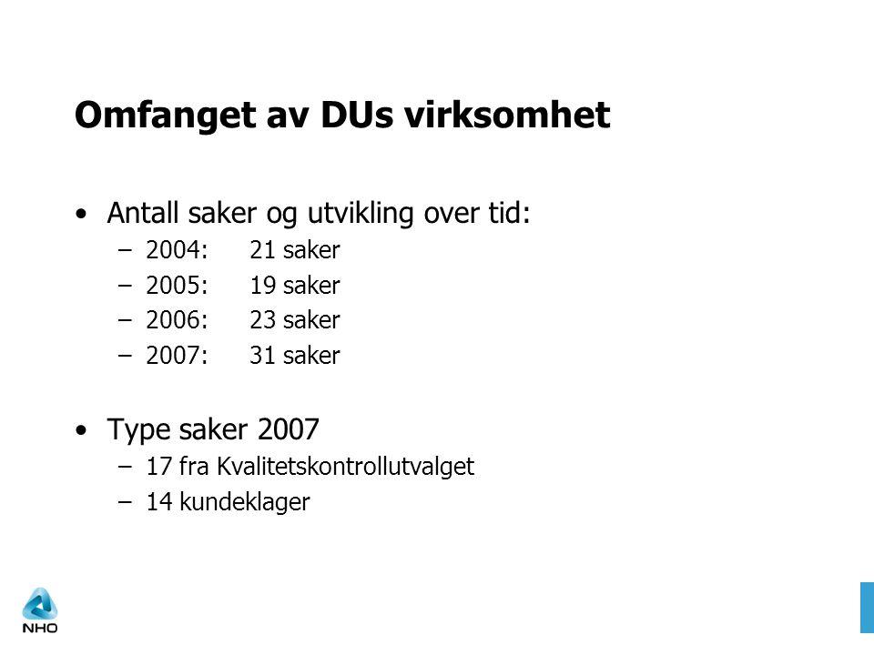 Omfanget av DUs virksomhet •Antall saker og utvikling over tid: –2004:21 saker –2005:19 saker –2006:23 saker –2007:31 saker •Type saker 2007 –17 fra K