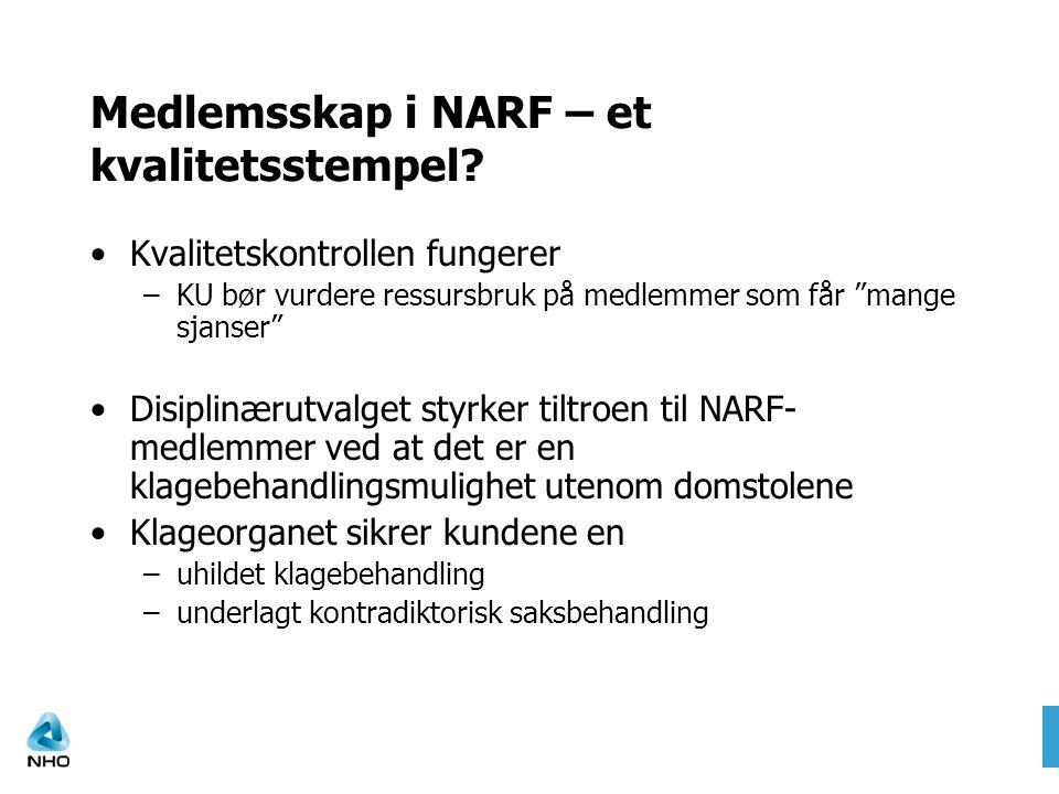 """Medlemsskap i NARF – et kvalitetsstempel? •Kvalitetskontrollen fungerer –KU bør vurdere ressursbruk på medlemmer som får """"mange sjanser"""" •Disiplinærut"""