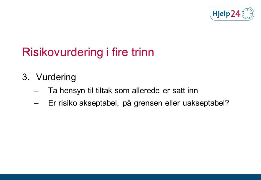 Risikovurdering i fire trinn 3. Vurdering –Ta hensyn til tiltak som allerede er satt inn –Er risiko akseptabel, på grensen eller uakseptabel?