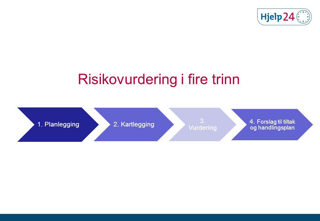 1. Planlegging 2. Kartlegging 3. Vurdering 4. Forslag til tiltak og handlingsplan Risikovurdering i fire trinn