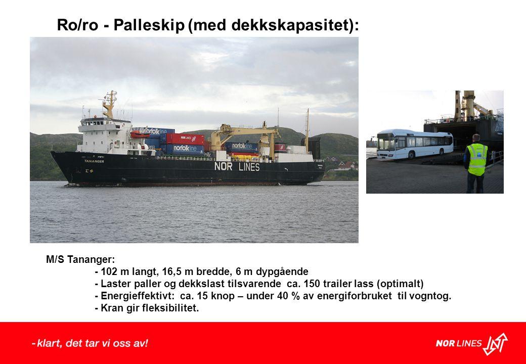Ro/ro - Palleskip (med dekkskapasitet): M/S Tananger: - 102 m langt, 16,5 m bredde, 6 m dypgående - Laster paller og dekkslast tilsvarende ca.