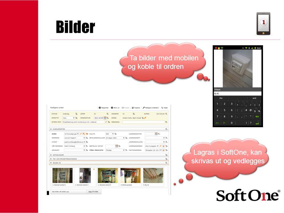 1-15 anställda Bilder Ta bilder med mobilen og koble til ordren Lagras i SoftOne, kan skrivas ut og vedlegges