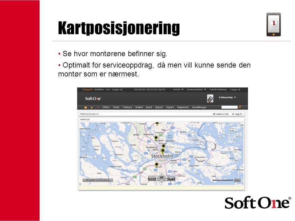 1-15 anställda Kartposisjonering • Se hvor montørene befinner sig. • Optimalt for serviceoppdrag, då men vill kunne sende den montør som er nærmest.