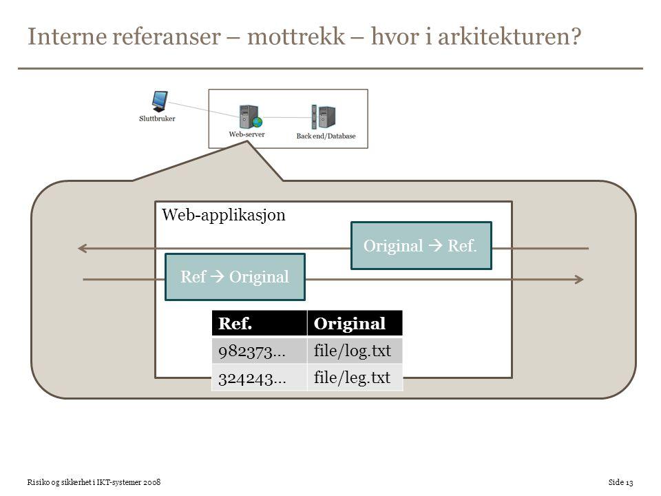 Interne referanser – mottrekk – hvor i arkitekturen? Risiko og sikkerhet i IKT-systemer 2008 Side 13 Web-applikasjon Ref.Original 982373…file/log.txt