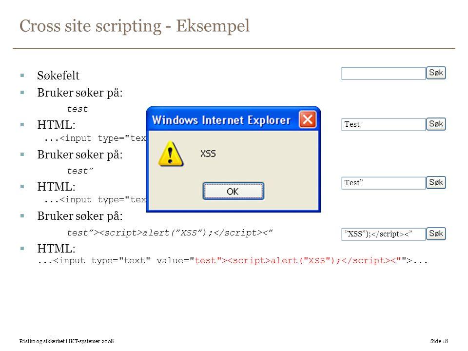 Cross site scripting - Eksempel Risiko og sikkerhet i IKT-systemer 2008 Side 18  Søkefelt  Bruker søker på: test  HTML:......  Bruker søker på: te