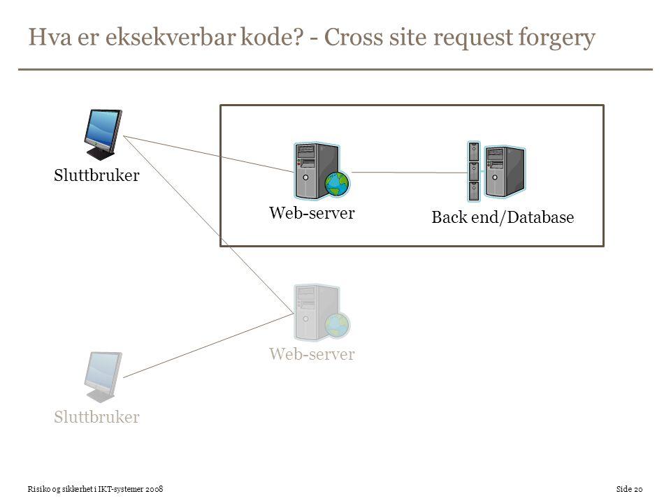 Hva er eksekverbar kode? - Cross site request forgery Risiko og sikkerhet i IKT-systemer 2008 Side 20 Web-server Back end/Database Sluttbruker Web-ser