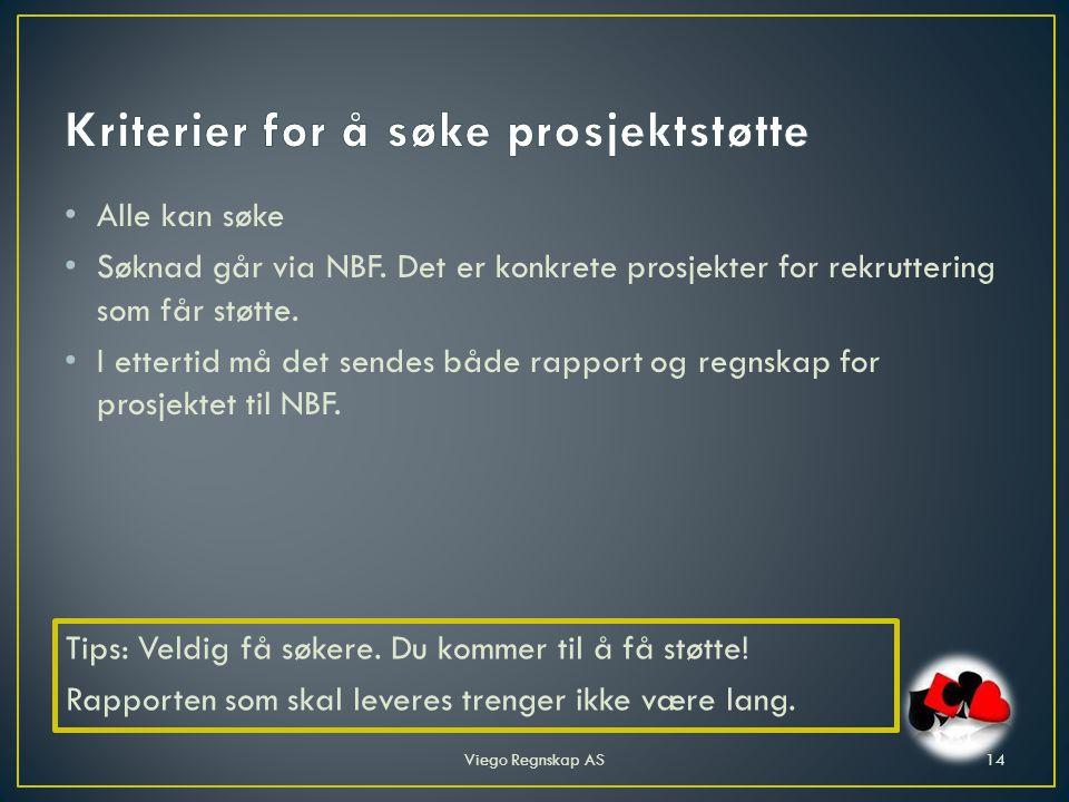 • Alle kan søke • Søknad går via NBF. Det er konkrete prosjekter for rekruttering som får støtte.