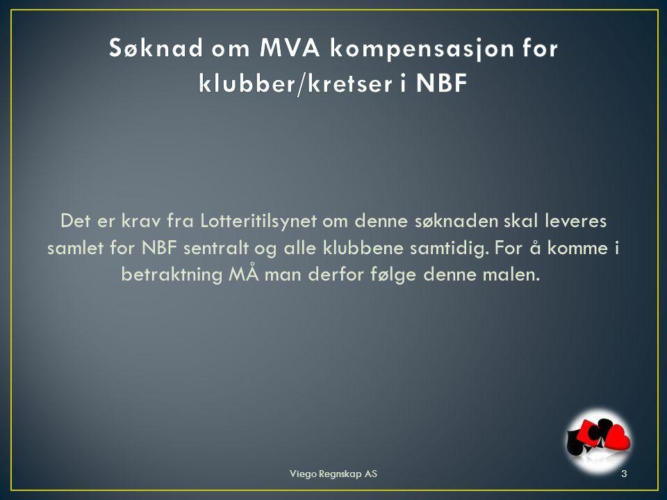 Det er krav fra Lotteritilsynet om denne søknaden skal leveres samlet for NBF sentralt og alle klubbene samtidig.