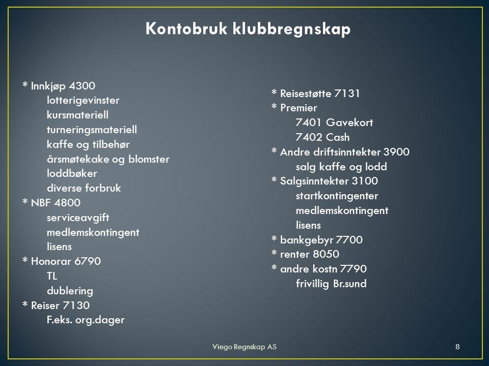Viego Regnskap AS9 Balanse Eiendeler Gjeld og EK Kasse 1900 kr 1 613,21 Bank 1920 kr 74 353,32 Korts.fordr.