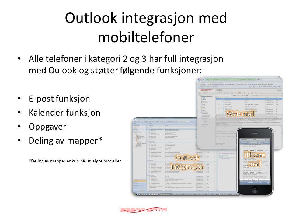 Outlook integrasjon med mobiltelefoner • Alle telefoner i kategori 2 og 3 har full integrasjon med Oulook og støtter følgende funksjoner: • E-post fun