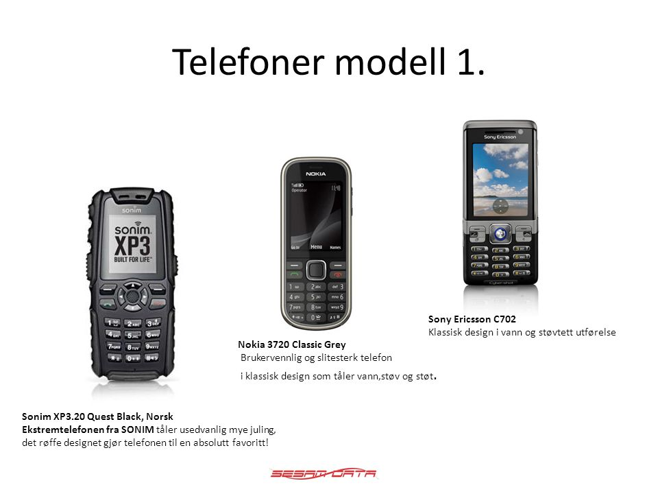 Telefoner modell 1. Sonim XP3.20 Quest Black, Norsk Ekstremtelefonen fra SONIM tåler usedvanlig mye juling, det røffe designet gjør telefonen til en a