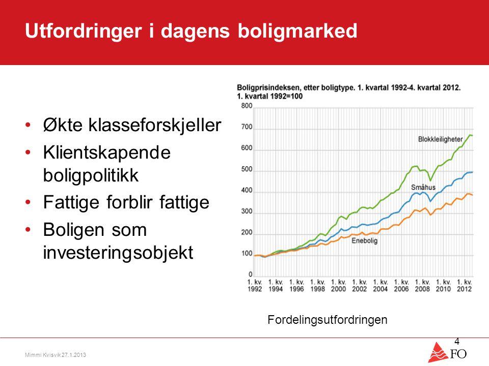 Utfordringer i dagens boligmarked •Økte klasseforskjeller •Klientskapende boligpolitikk •Fattige forblir fattige •Boligen som investeringsobjekt Mimmi
