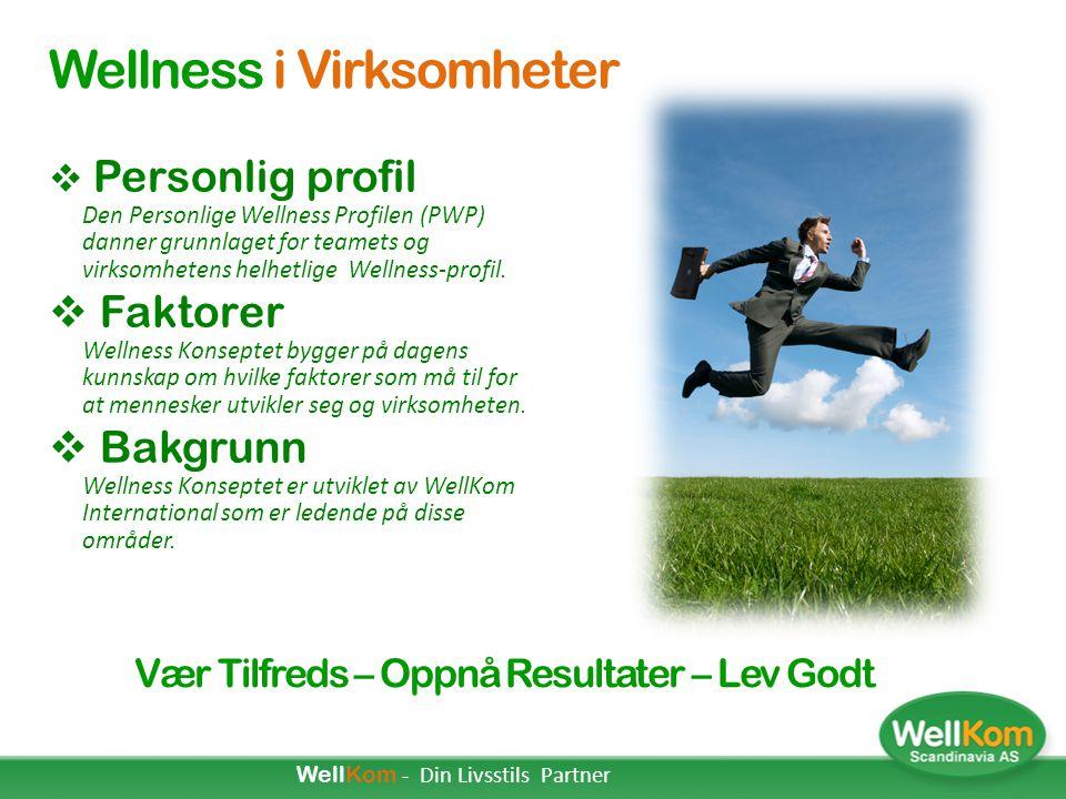 WellKom - Din Livsstils Partner WellKom Scadinavia møter Virksomheter Vær Tilfreds – Oppnå Resultater – Lev Godt AGENDA: 1.Hvor gode resultat har din