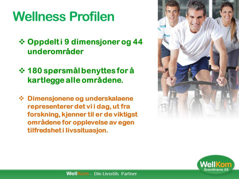 Resultater i PWP-en  4.2 og høyere indikerer svært god tilfredshet med situasjonen og gode/effektive vaner  En score mellom 1.8 og 4.2 indikerer en gjennomsnitts tilfredshet av gode/ effektive vaner ( tilsvarende 60% av sammenligningsgruppen )  En score på 1.8 eller lavere indikerer lavt nivå på tilfredshet med situasjonen - gode/ effektive vaner ( Som representerer 20% av sammenligningsgruppen ) WellKom - Din Livsstils Partner