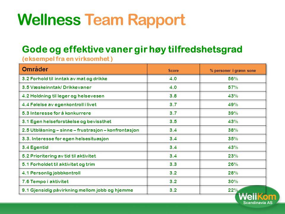 Wellness Profilen  Oppdelt i 9 dimensjoner og 44 underområder  180 spørsmål benyttes for å kartlegge alle områdene.  Dimensjonene og underskalaene