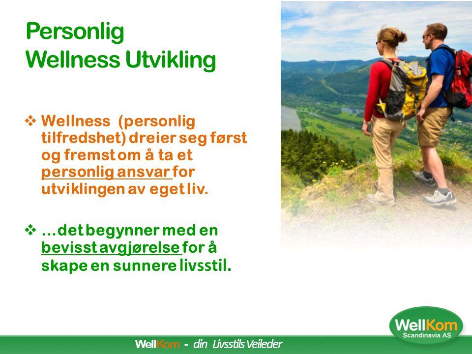 •Måler hvor tilfreds jeg er med mitt liv og min livssituasjon Wellness = Tilfredshetsgraden •Hvorfor Wellness? Fordi tilfredse mennesker har det bedre