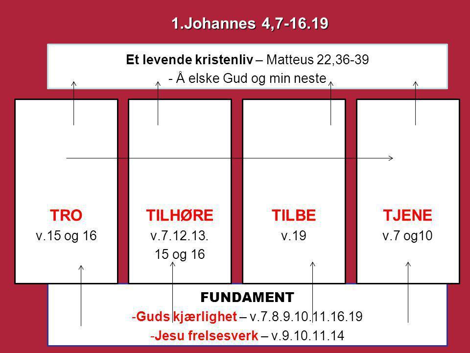 FUNDAMENT -Guds kjærlighet – v.7.8.9.10.11.16.19 -Jesu frelsesverk – v.9.10.11.14 Et levende kristenliv – Matteus 22,36-39 - Å elske Gud og min neste