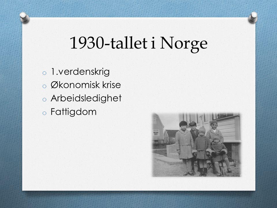1930-tallet i Norge o 1.verdenskrig o Økonomisk krise o Arbeidsledighet o Fattigdom