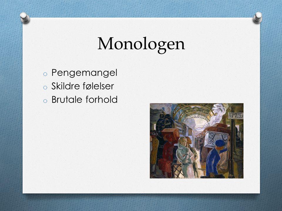 Monologen o Pengemangel o Skildre følelser o Brutale forhold