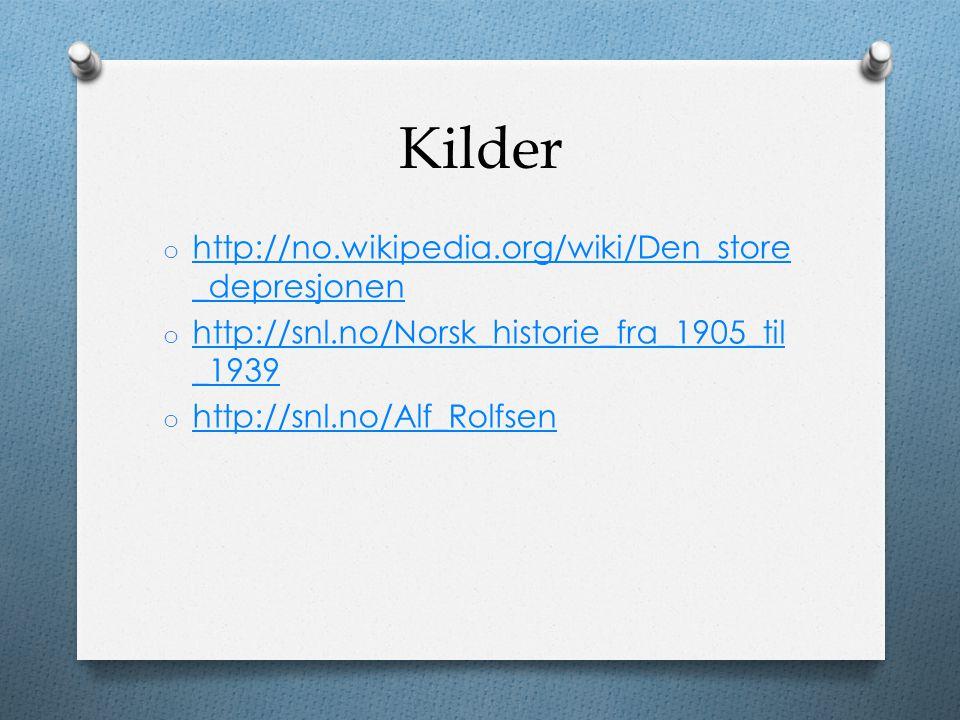 Kilder o http://no.wikipedia.org/wiki/Den_store _depresjonen http://no.wikipedia.org/wiki/Den_store _depresjonen o http://snl.no/Norsk_historie_fra_19