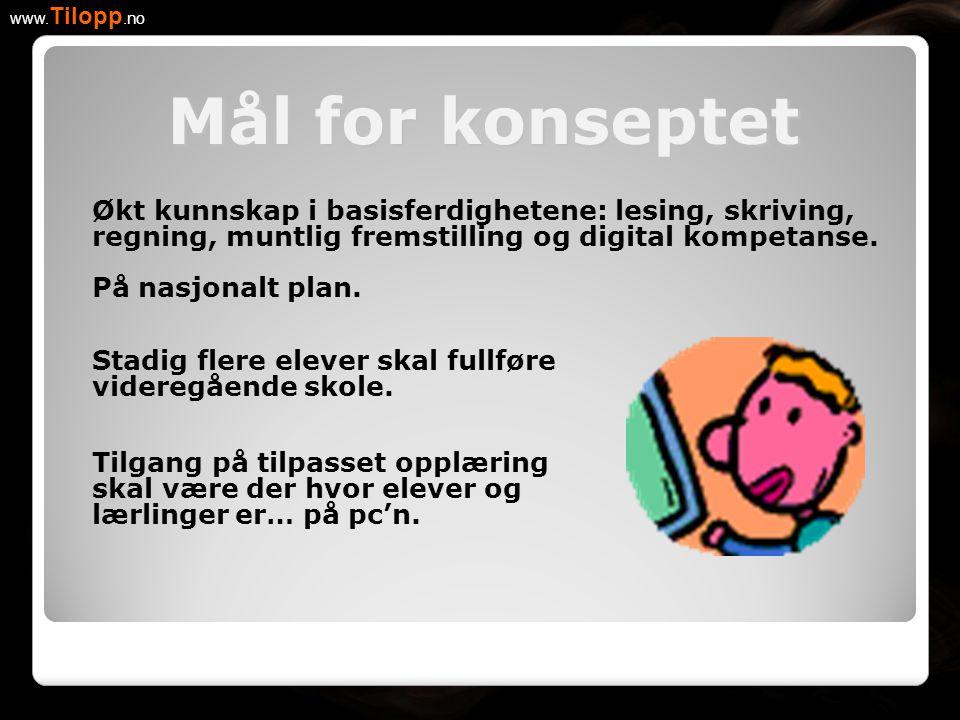 Mål for konseptet www. Tilopp.no Økt kunnskap i basisferdighetene: lesing, skriving, regning, muntlig fremstilling og digital kompetanse. På nasjonalt