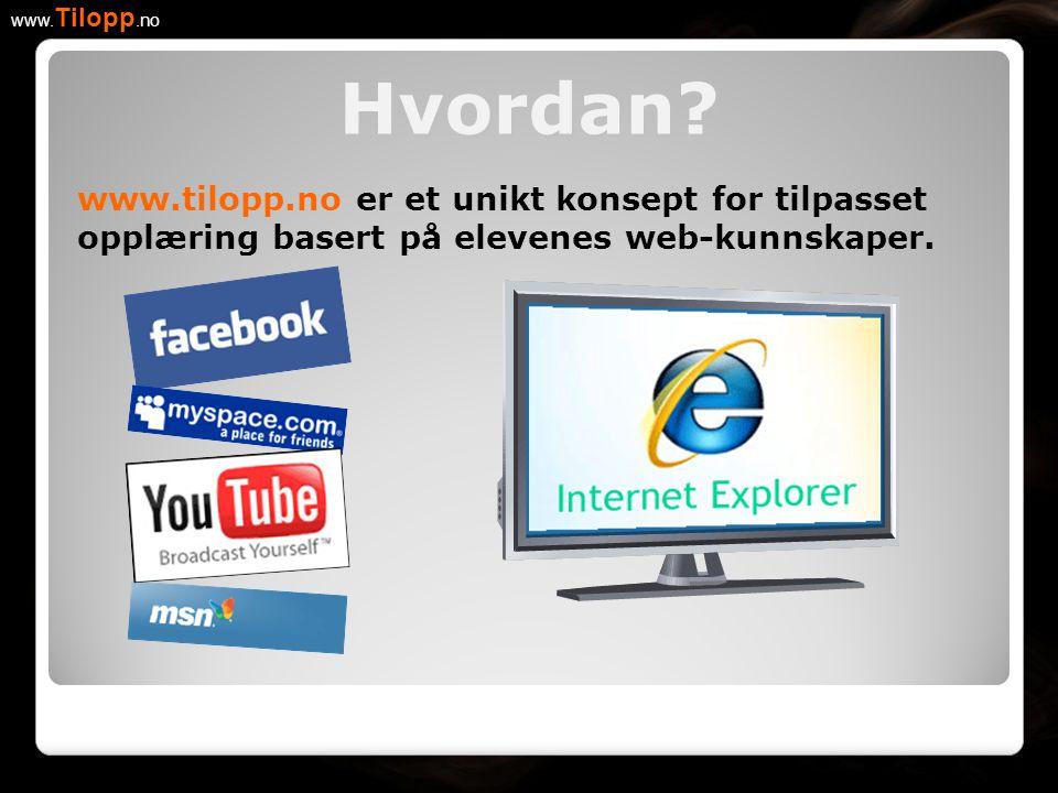 www.tilopp.no er et unikt konsept for tilpasset opplæring basert på elevenes web-kunnskaper. Hvordan? www. Tilopp.no