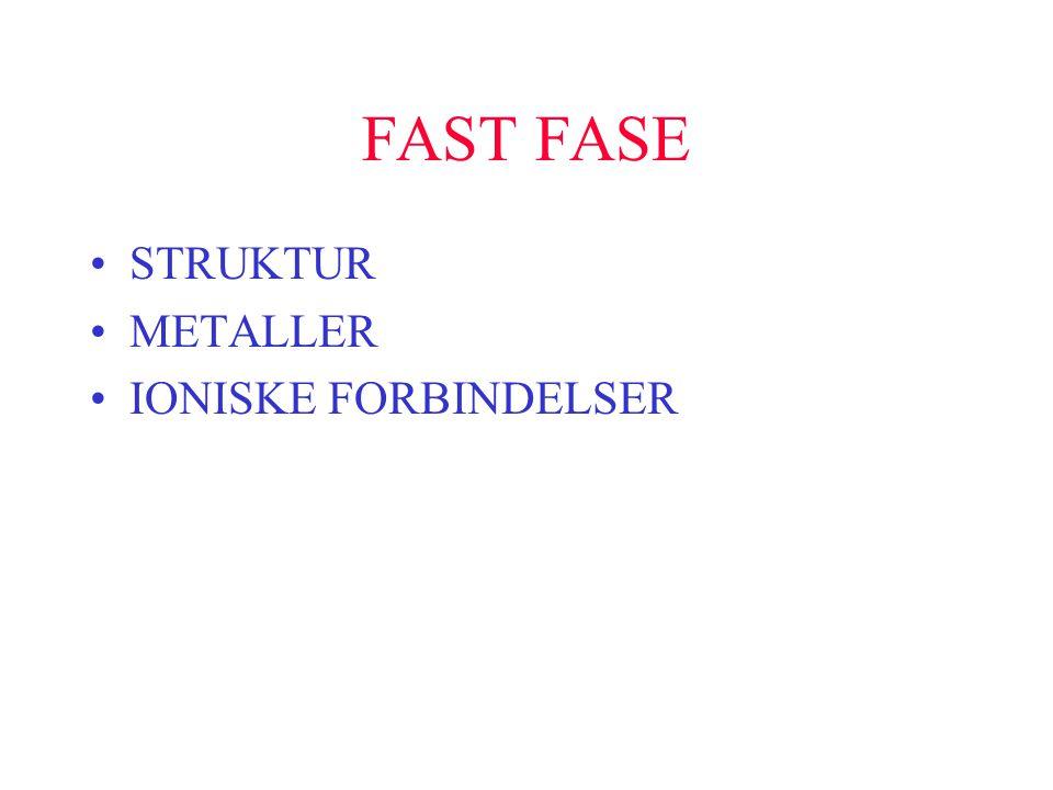 FAST FASE •STRUKTUR •METALLER •IONISKE FORBINDELSER