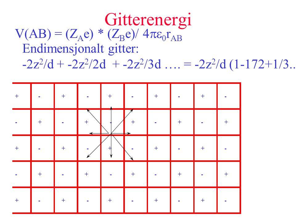 Gitterenergi V(AB) = (Z A e) * (Z B e)/ 4   r AB Endimensjonalt gitter: -2z 2 /d + -2z 2 /2d + -2z 2 /3d …. = -2z 2 /d (1-172+1/3..