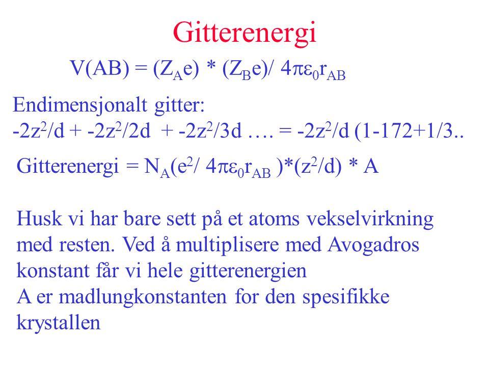 Gitterenergi V(AB) = (Z A e) * (Z B e)/ 4   r AB Endimensjonalt gitter: -2z 2 /d + -2z 2 /2d + -2z 2 /3d …. = -2z 2 /d (1-172+1/3.. Gitterenergi =