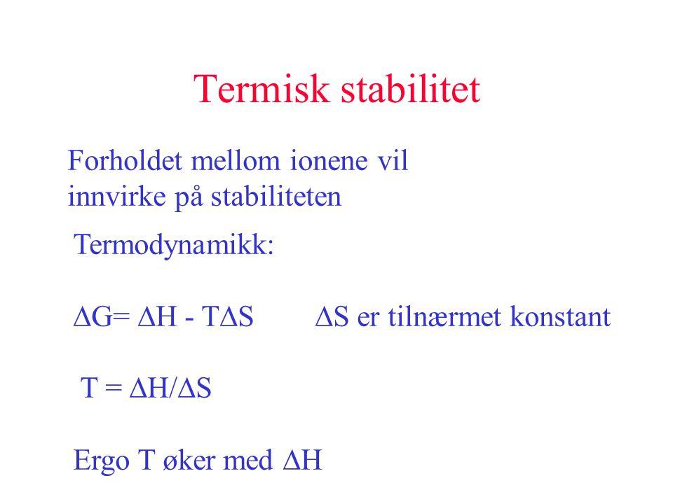 Termisk stabilitet Forholdet mellom ionene vil innvirke på stabiliteten Termodynamikk:  G=  H - T  S  S er tilnærmet konstant T =  H/  S Ergo T