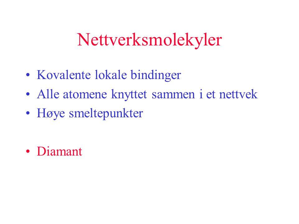 Nettverksmolekyler •Kovalente lokale bindinger •Alle atomene knyttet sammen i et nettvek •Høye smeltepunkter •Diamant