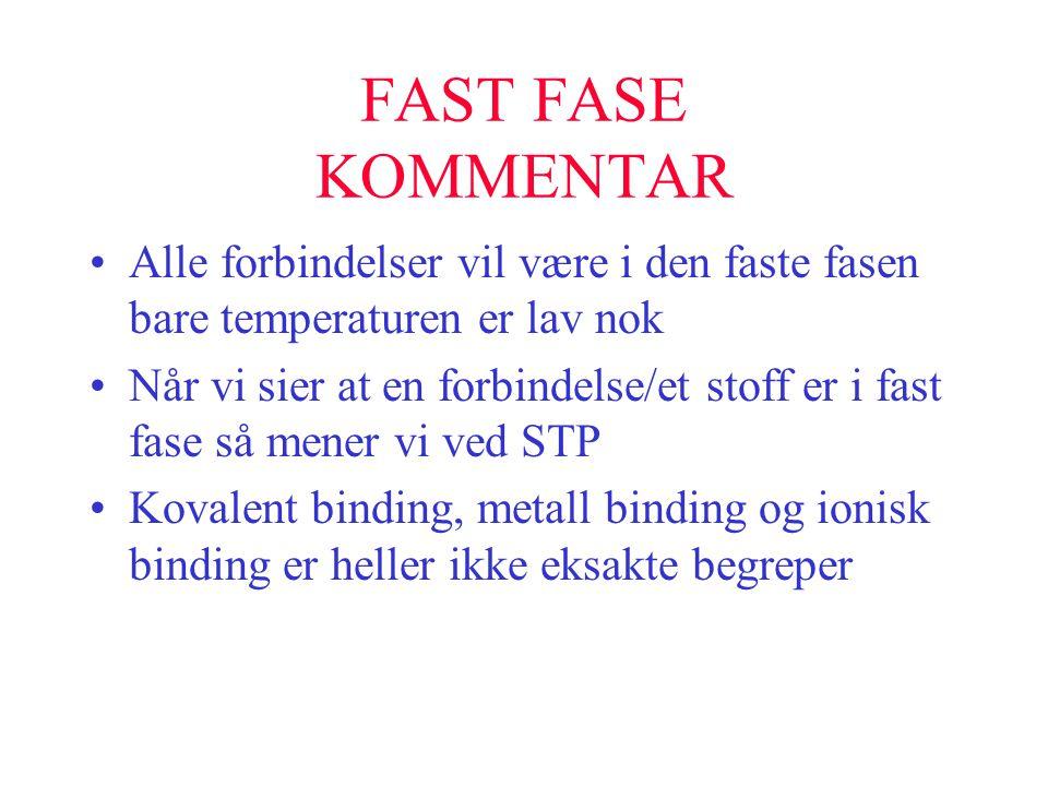 FAST FASE KOMMENTAR •Alle forbindelser vil være i den faste fasen bare temperaturen er lav nok •Når vi sier at en forbindelse/et stoff er i fast fase