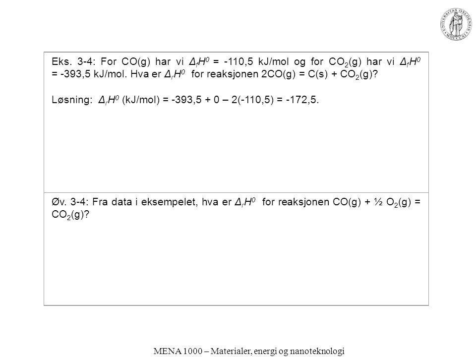 MENA 1000 – Materialer, energi og nanoteknologi Eks. 3-4: For CO(g) har vi Δ f H 0 = -110,5 kJ/mol og for CO 2 (g) har vi Δ f H 0 = ‑ 393,5 kJ/mol. Hv