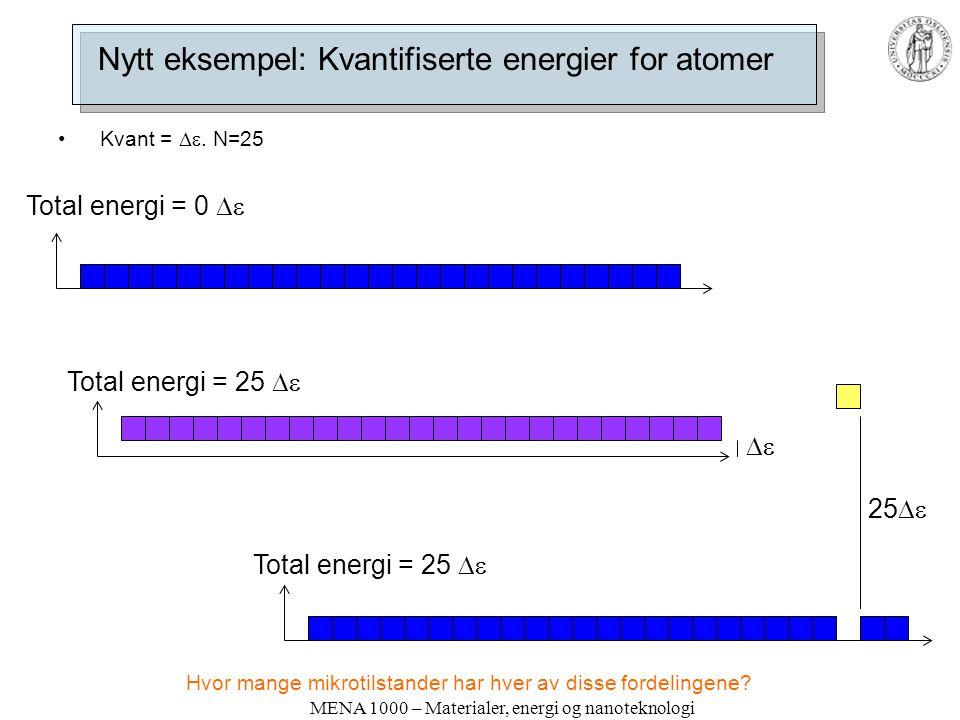 MENA 1000 – Materialer, energi og nanoteknologi Nytt eksempel: Kvantifiserte energier for atomer • Kvant = . N=25 Total energi = 0  Total energi =